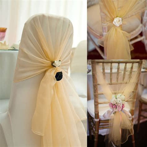 Wholesale 100pcs pack 65x275cm Champagne Chair Cover Hood