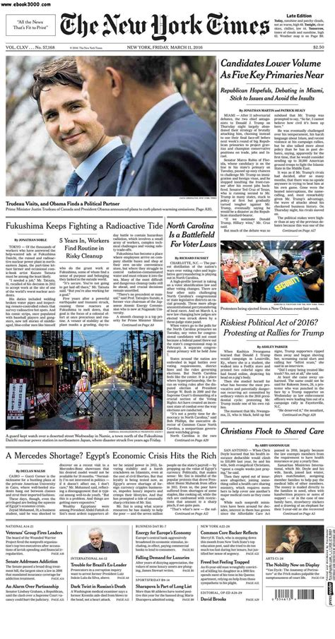 Pdf Free New York Times App by The New York Times March 11 2016 Pdf Zeke23