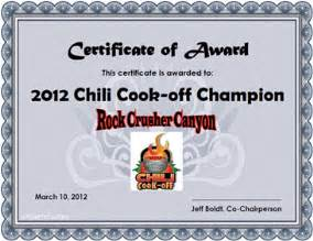 Chili Cook Off Certificate Template Boldt S Rv Castle Chili Cook Off
