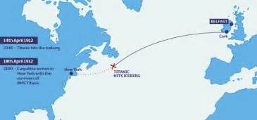 Titanic Route Map by Titanic Route From Queenstown To New York