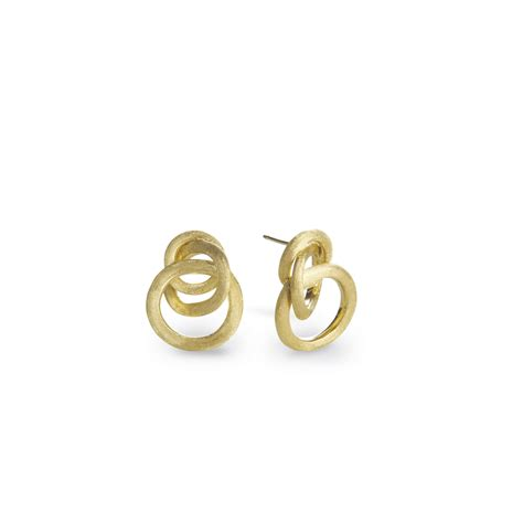 small gold links earrings tiny box