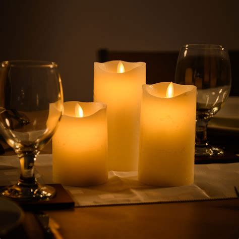 3 flameless wax led flickering candles dancing battery