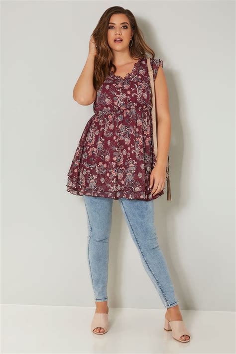 Floral Chiffon Top floral print chiffon sleeveless top with elasticated