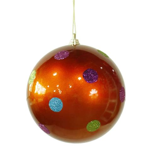 5 5 inch polka dot christmas ball ornament orange m120218