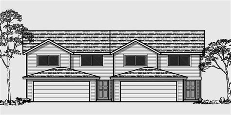 Duplex House Plans 25 Ft Wide House Plans D 434 Duplex House Plans With 2 Car Garage