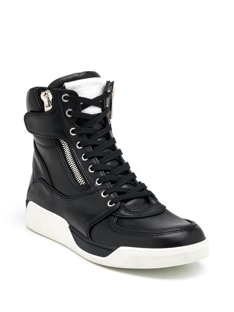 high top leather sneakers dolce gabbana side zip high top leather sneakers in