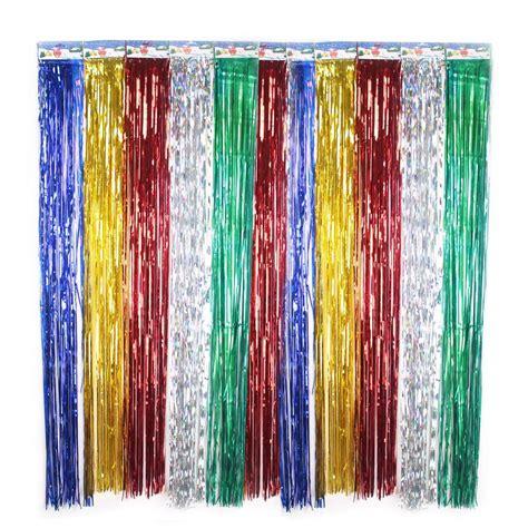 Metallic foil fringe curtains