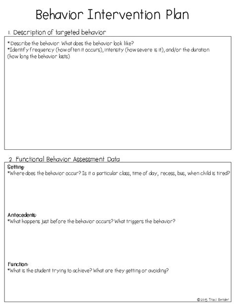 sle behavior intervention plan template the bender bunch creating a behavior intervention plan bip