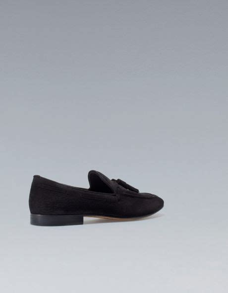 zara mens loafers zara loafers with tassels in black for lyst