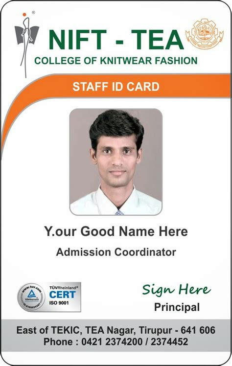 Staff Card Template by Id Card Coimbatore Ph 97905 47171 College Student