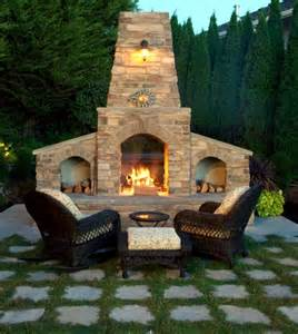 Steel Patio Chairs Stone Barbecue Fireplace The Highlight In The Garden