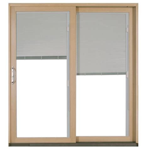 Jeld Wen Sliding Patio Doors With Blinds Jeld Wen 72 In X 80 In W 2500 White Right Aluminum Clad Wood Sliding Patio Door P72819