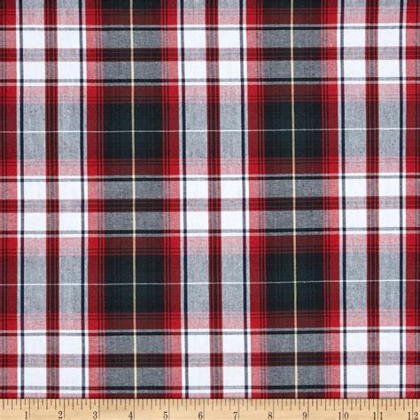 plaid fabric poly cotton plaid green black discount designer fabric fabric