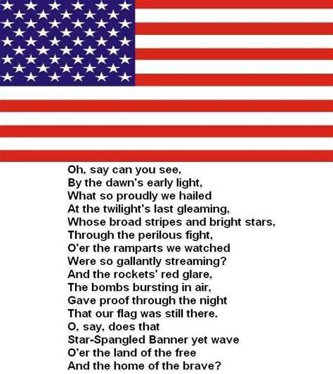 printable lyrics to the national anthem usa united states celebrate 200th anniversary of our national