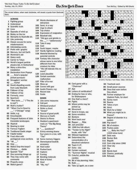 sunday times crossword section the new york times crossword in gothic