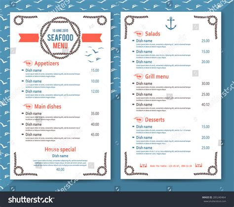simple html menu template simple seafood restaurant cafe menu stock vector