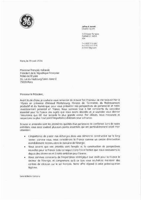 Présentation De La Lettre Personnelle La Lettre Du Pdg De General Electric 224 Fran 231 Ois Hollande