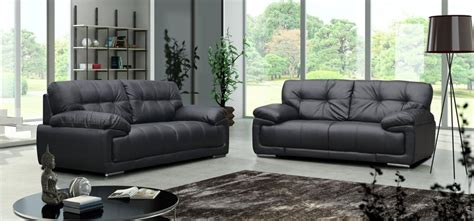 attractive black leather set black leather sofas