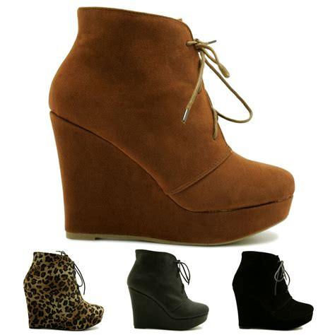new womens wedge heel lace up platform ankle boots size ebay