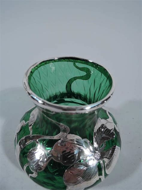 Silver Overlay Glass Vase by Nouveau Quilted Emerald Glass Silver Overlay Vase By