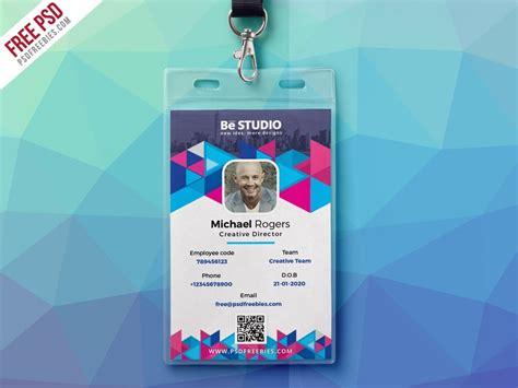 student id card photoshop template creative office id card free psd psd