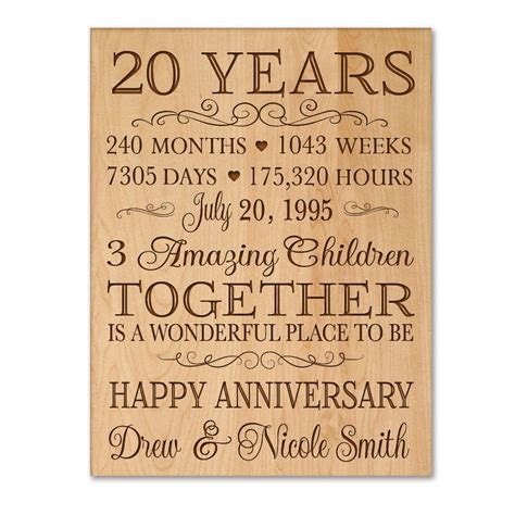 Wedding Anniversary Date Ideas by Personalized 20th Anniversary Gift For Him 20 Year Wedding