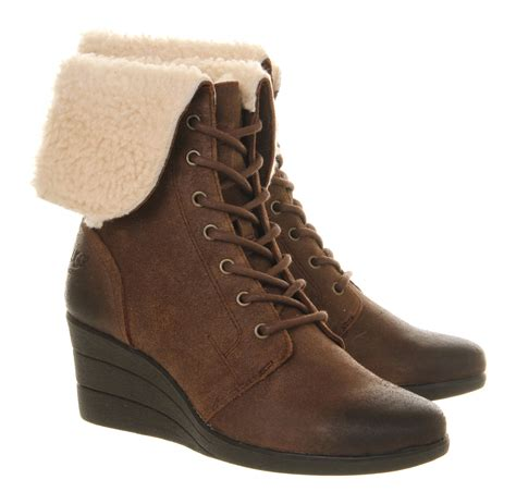 lace up ugg boots ugg zea shearling wedge lace up boots in brown chocolate