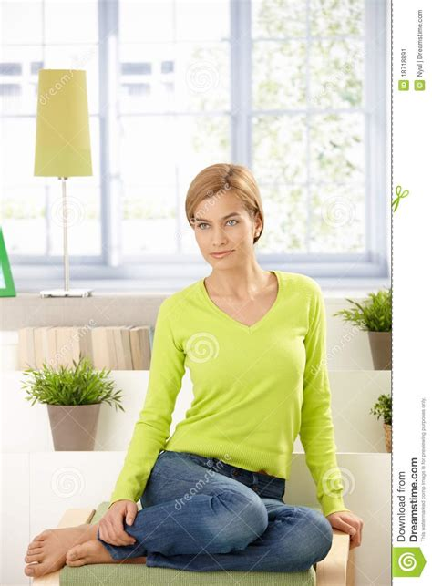 in home sitting attractive sitting at home in green stock image image 18718891
