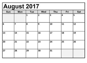 Calendar 2017 Monthly August 2017 Calendar Monthly Calendar Template Letter