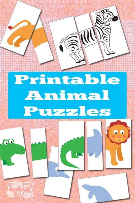printable animal game pieces printable animal puzzles busy bag busy bags animal and bag