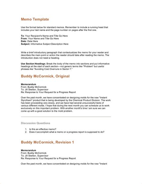 memo sle template 4 standard memo formatreport template document report