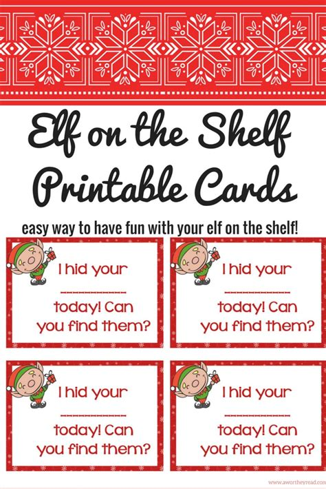 On The Shelf Cards Printable