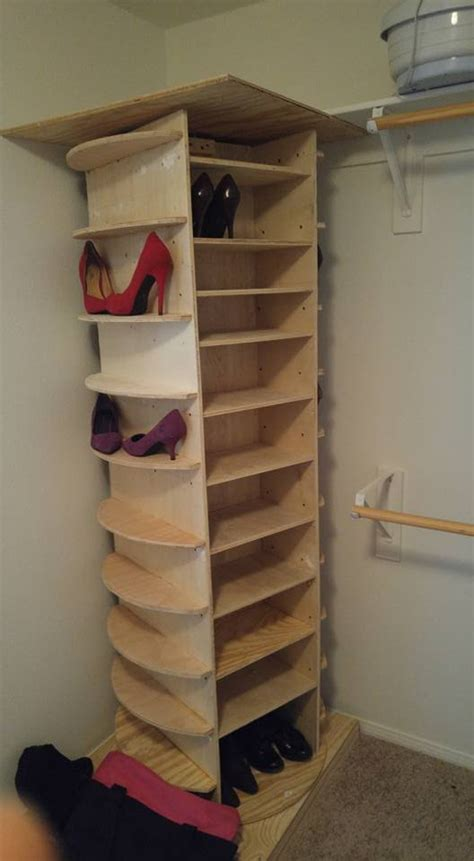 diy closet shoe storage diy lazy susan shoe rack white picket fence my