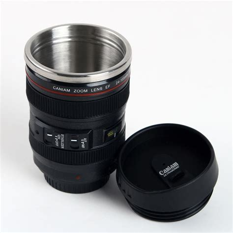 24 units of coffee mug stainless steel with handle at camera lens cup 24 105 coffee tea mug stainless steel