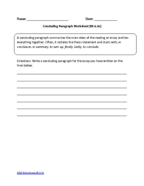6th Grade Writing Worksheets by 6th Grade Common Writing Worksheets