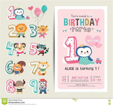 Animal Birthday Card Template by Birthday Card Stock Illustration Image 73119303