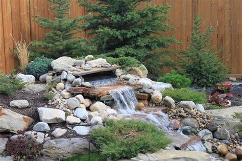Backyard Ideas Calgary Pondless Water Fall Calgary Alberta Modern Landscape