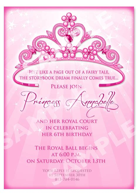 Princess Party Invitations Template Resume Builder Free Birthday Templates With Photo