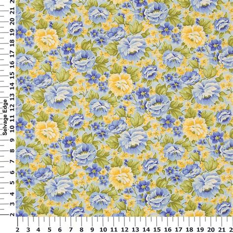 Blue And Yellow Upholstery Fabric by Blue And Yellow Fabric Yellow And Blue Flowers On Cotton