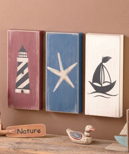 starfish wooden lighthouse nautical themed rooms 3 pc nautical wall art set lighthouse starfish sailboat