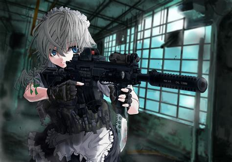 wallpaper anime girl with gun touhou full hd wallpaper and background 2000x1401 id