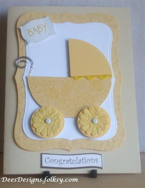 Handmade Baby Card - handmade yellow pram new baby card folksy craftjuice
