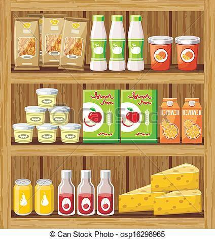 speisekammer clipart clip vector voedingsmiddelen shelfs supermarkt