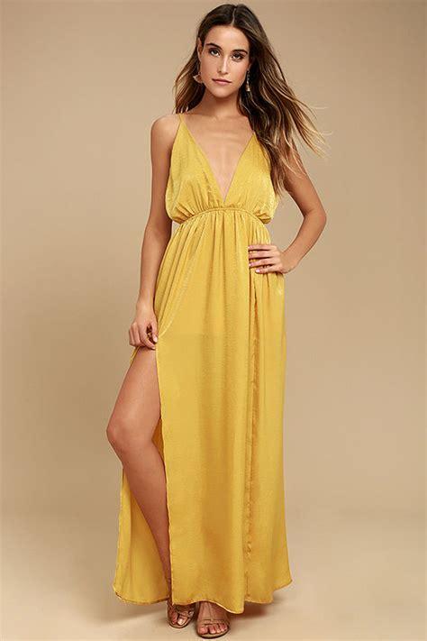 Ylw Dress mustard yellow dress satin dress maxi dress 54 00