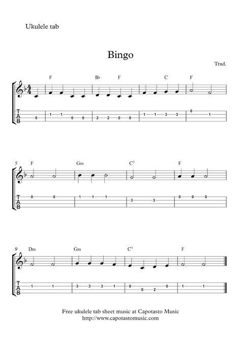 printable sheet music for ukulele bingo free easy ukulele tab sheet music