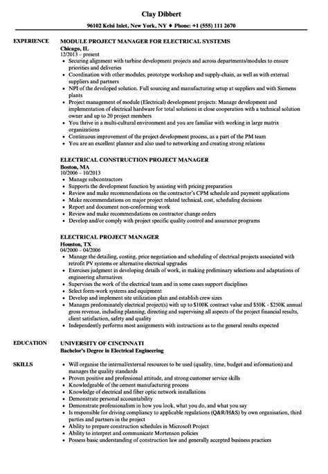 electrical construction project manager resume sle electrical project manager resume sles velvet