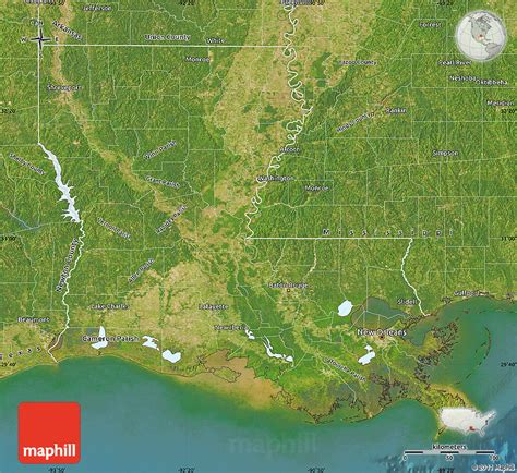 map usa states satellite satellite map of louisiana