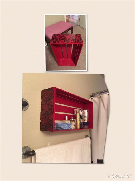 crate shelves bathroom crate turned bathroom wall shelf diy projects decor
