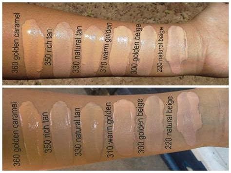 Maybelline Mineral Sense Of Water Skin Shedding revlon colorstay foundations swatches in golden caramel