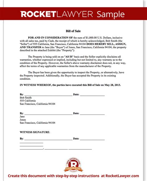Bill of Sale Form   Printable Car & Vehicle Bill of Sale